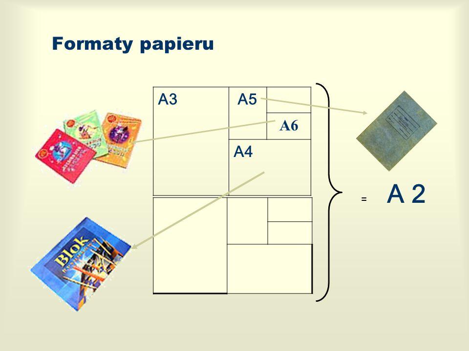 Formaty papieru A3 A5 A6 A4 A 2 + =