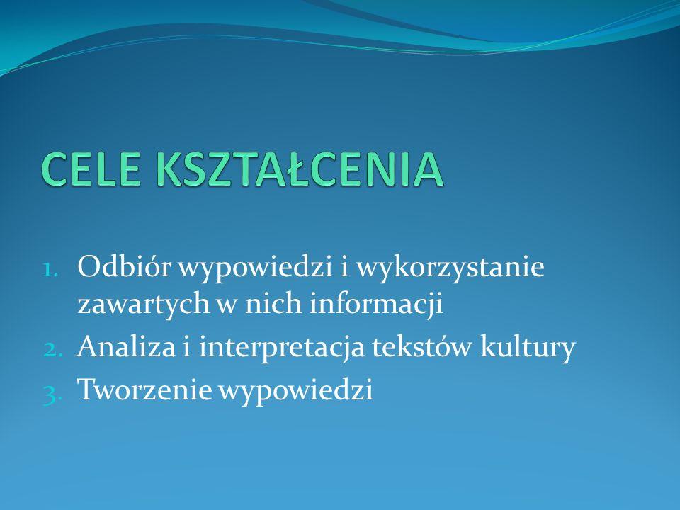 CELE KSZTAŁCENIA Odbiór wypowiedzi i wykorzystanie zawartych w nich informacji. Analiza i interpretacja tekstów kultury.