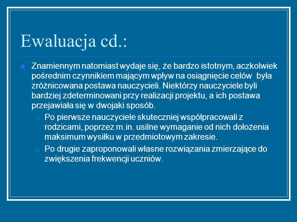 Ewaluacja cd.: