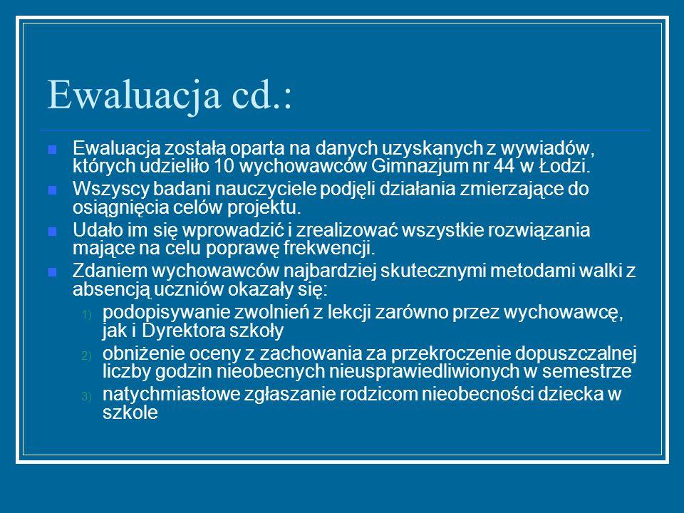 Ewaluacja cd.: Ewaluacja została oparta na danych uzyskanych z wywiadów, których udzieliło 10 wychowawców Gimnazjum nr 44 w Łodzi.