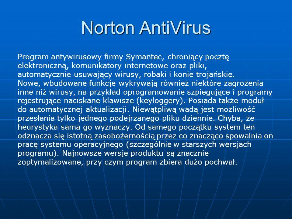 Norton AntiVirus Program antywirusowy firmy Symantec, chroniący pocztę