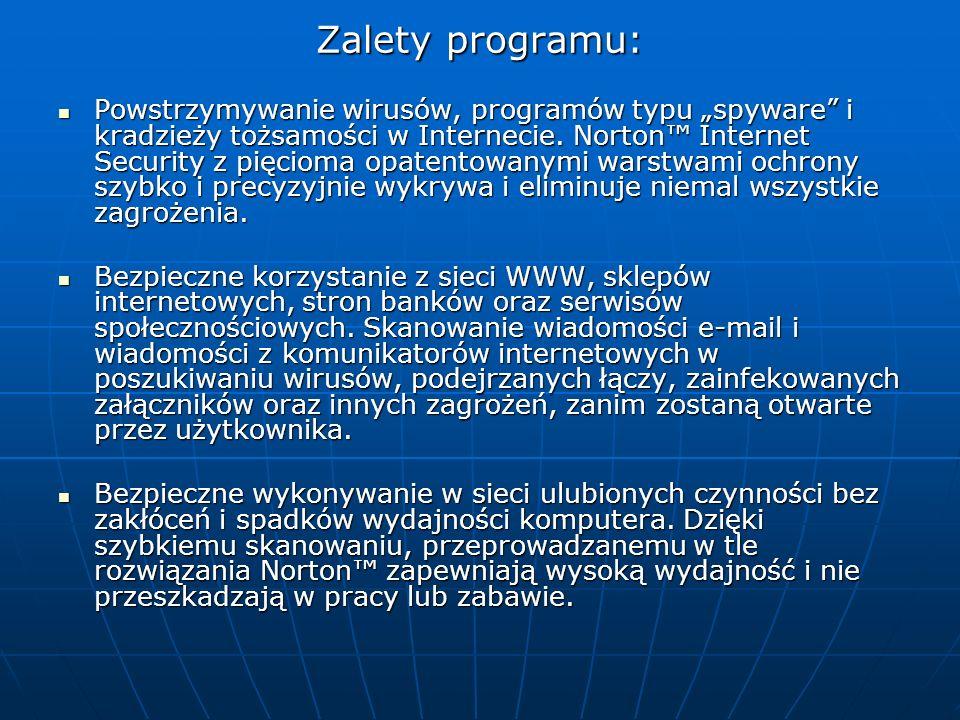 Zalety programu: