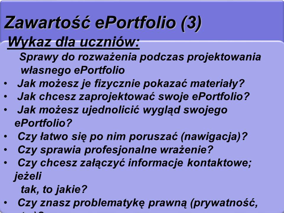 Zawartość ePortfolio (3)