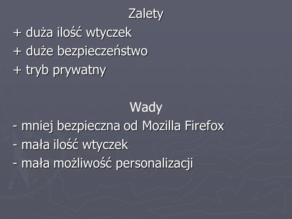 Zalety+ duża ilość wtyczek. + duże bezpieczeństwo. + tryb prywatny. Wady. - mniej bezpieczna od Mozilla Firefox.