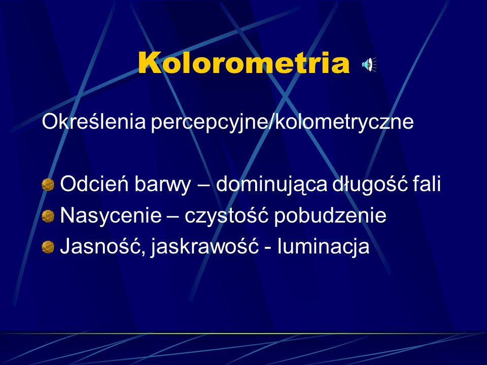 Kolorometria Określenia percepcyjne/kolometryczne