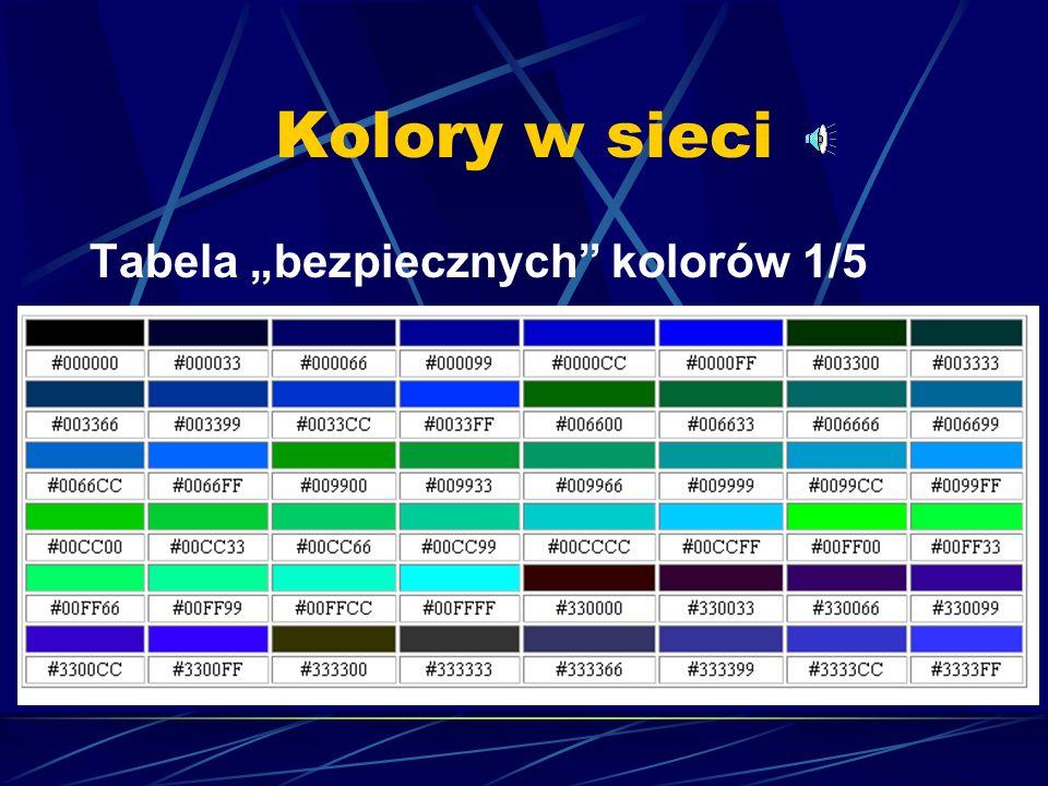 """Kolory w sieci Tabela """"bezpiecznych kolorów 1/5"""