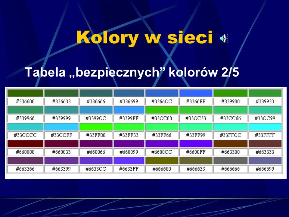 """Kolory w sieci Tabela """"bezpiecznych kolorów 2/5"""