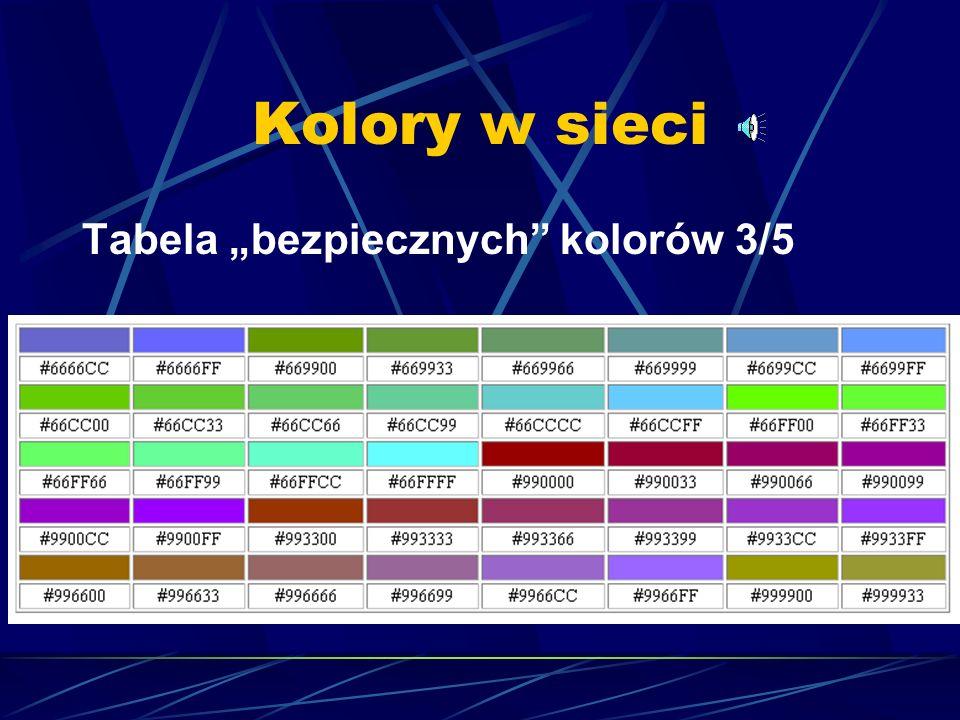 """Kolory w sieci Tabela """"bezpiecznych kolorów 3/5"""