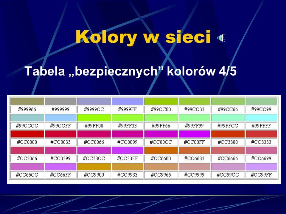 """Kolory w sieci Tabela """"bezpiecznych kolorów 4/5"""