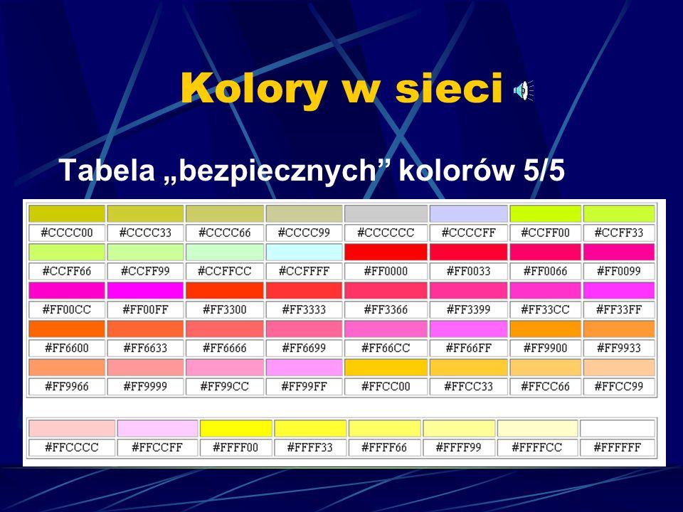 """Kolory w sieci Tabela """"bezpiecznych kolorów 5/5"""