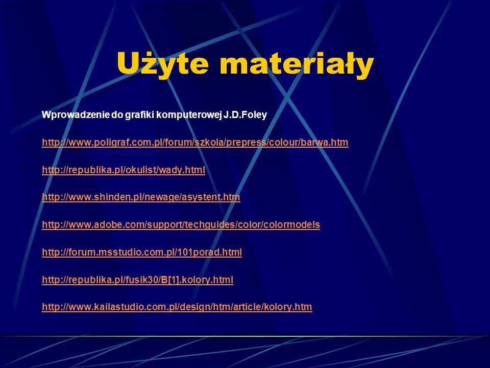 Użyte materiały Wprowadzenie do grafiki komputerowej J.D.Foley