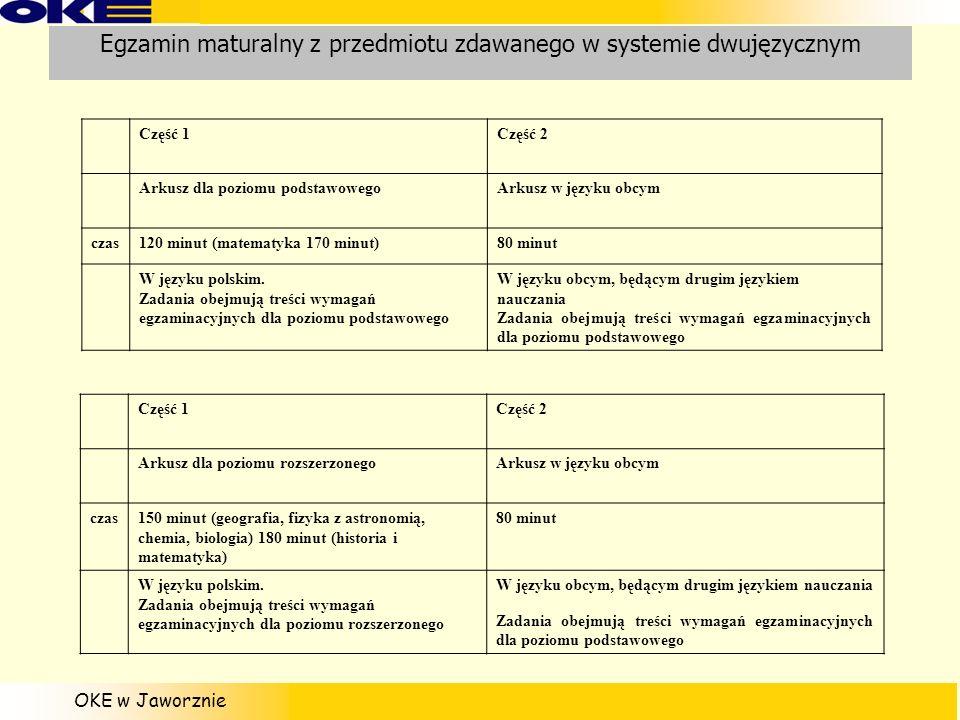 Egzamin maturalny z przedmiotu zdawanego w systemie dwujęzycznym