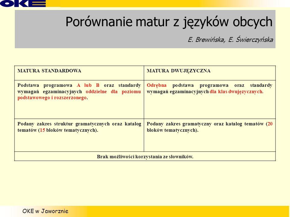 Porównanie matur z języków obcych E. Brewińska, E. Świerczyńska