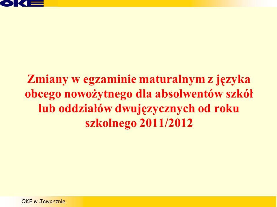 Zmiany w egzaminie maturalnym z języka obcego nowożytnego dla absolwentów szkół lub oddziałów dwujęzycznych od roku szkolnego 2011/2012