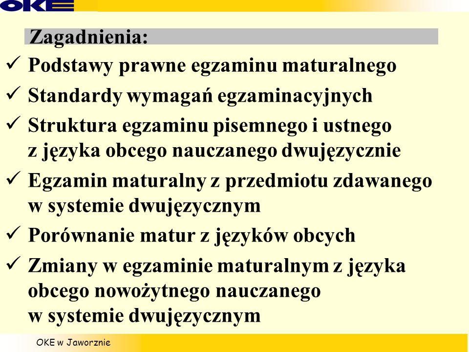 Zagadnienia: Podstawy prawne egzaminu maturalnego. Standardy wymagań egzaminacyjnych.