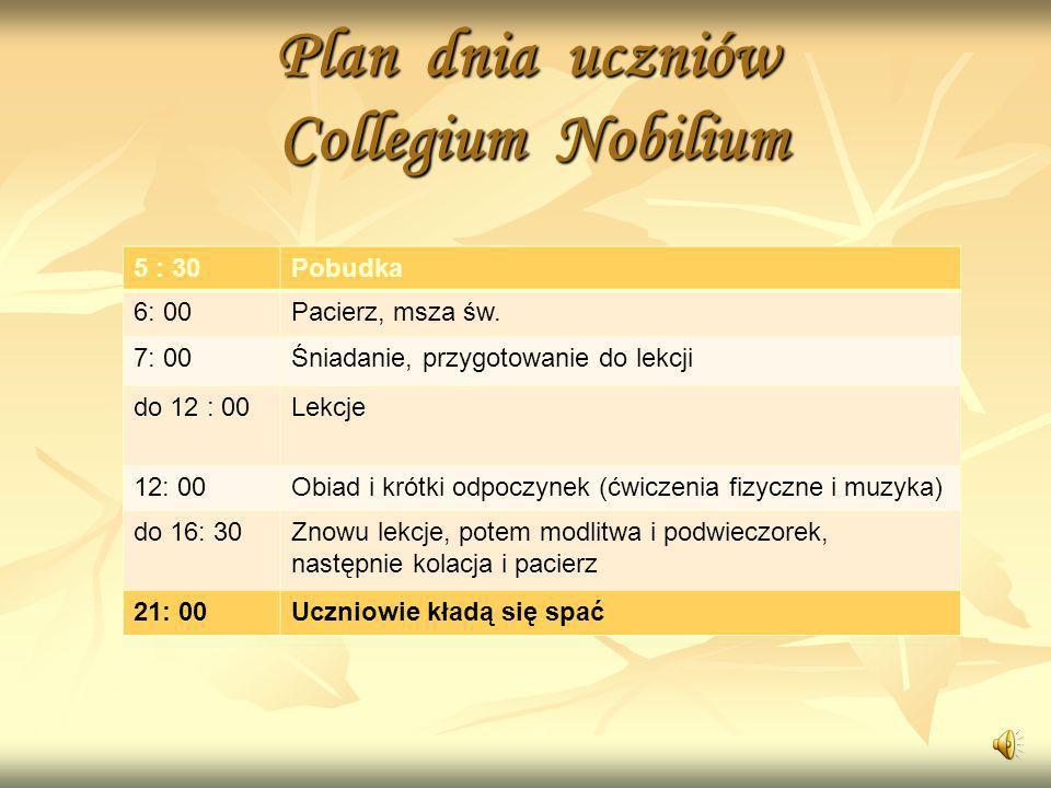 Plan dnia uczniów Collegium Nobilium