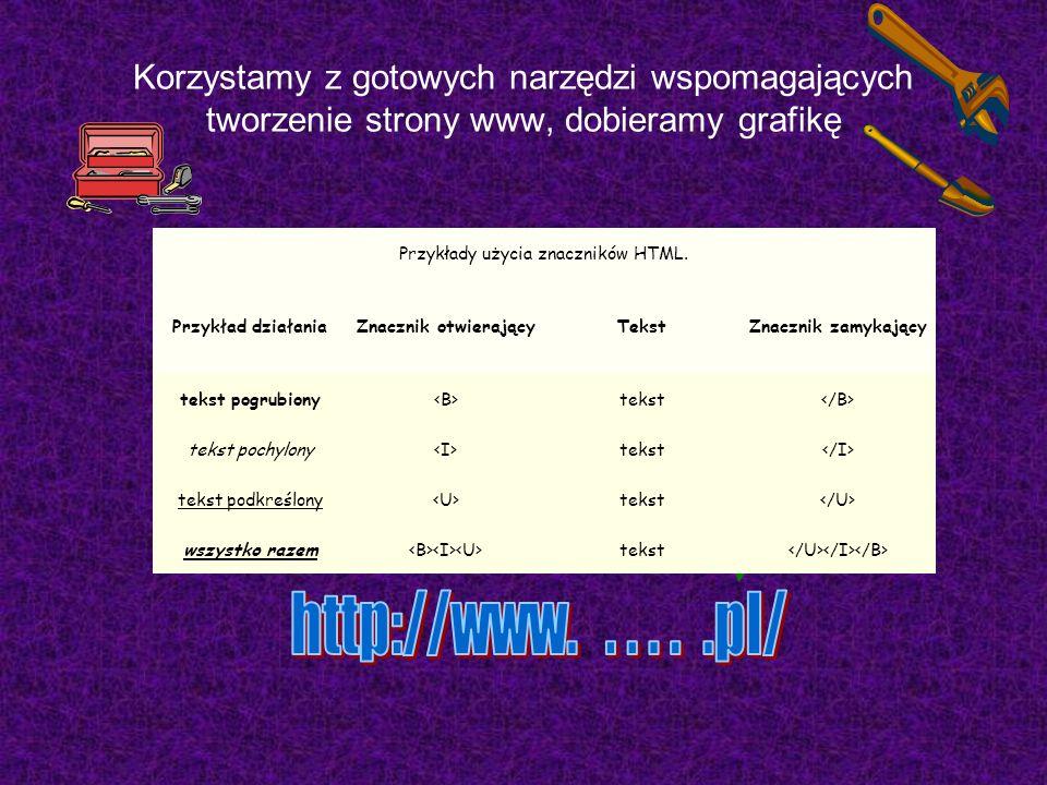 Korzystamy z gotowych narzędzi wspomagających tworzenie strony www, dobieramy grafikę