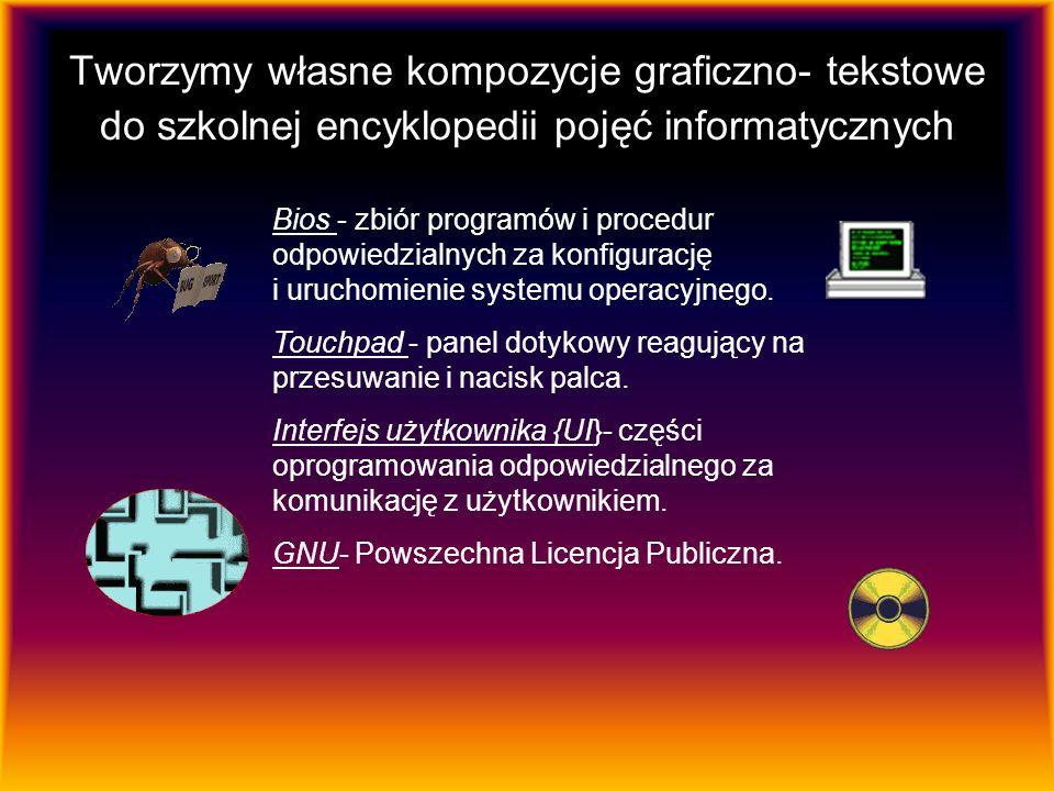 Tworzymy własne kompozycje graficzno- tekstowe do szkolnej encyklopedii pojęć informatycznych