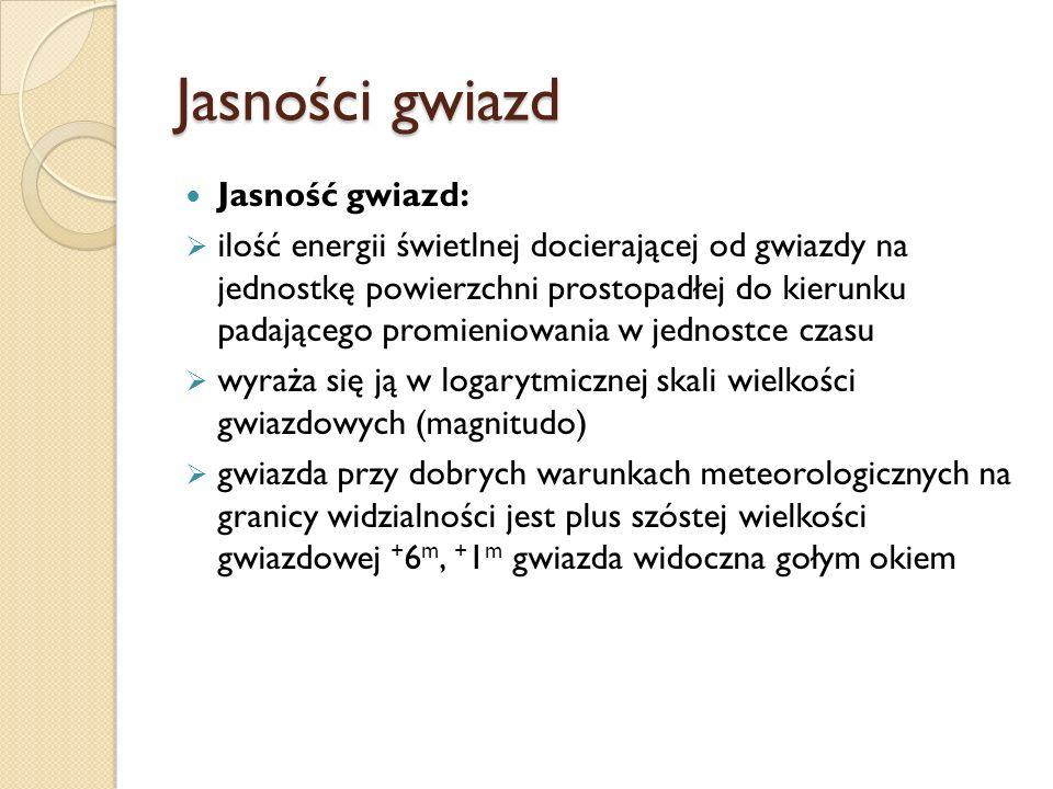 Jasności gwiazd Jasność gwiazd: