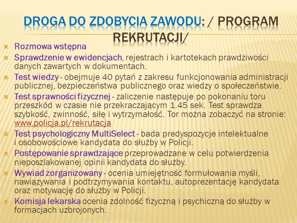 Droga do zdobycia zawodu: / program RekrutACJI/