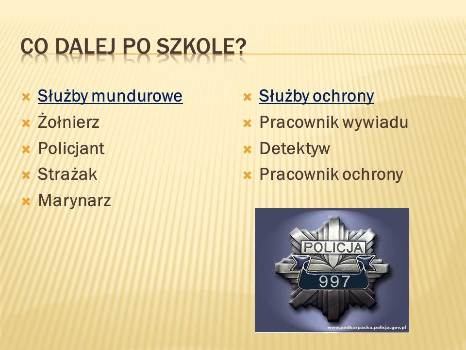 Co dalej po szkole Służby mundurowe Żołnierz Policjant Strażak