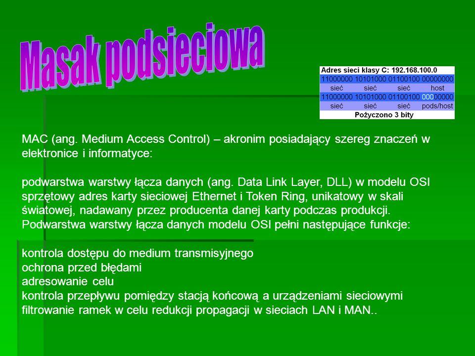 Masak podsieciowa MAC (ang. Medium Access Control) – akronim posiadający szereg znaczeń w elektronice i informatyce: