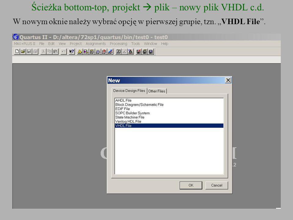 Ścieżka bottom-top, projekt  plik – nowy plik VHDL c.d.