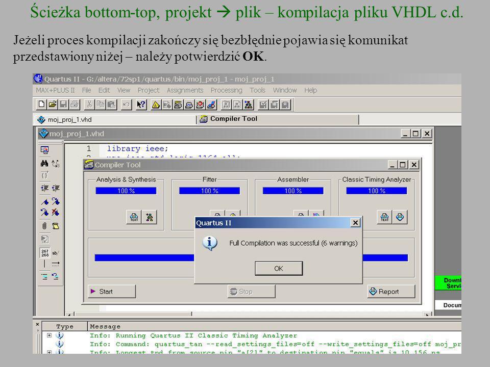 Ścieżka bottom-top, projekt  plik – kompilacja pliku VHDL c.d.