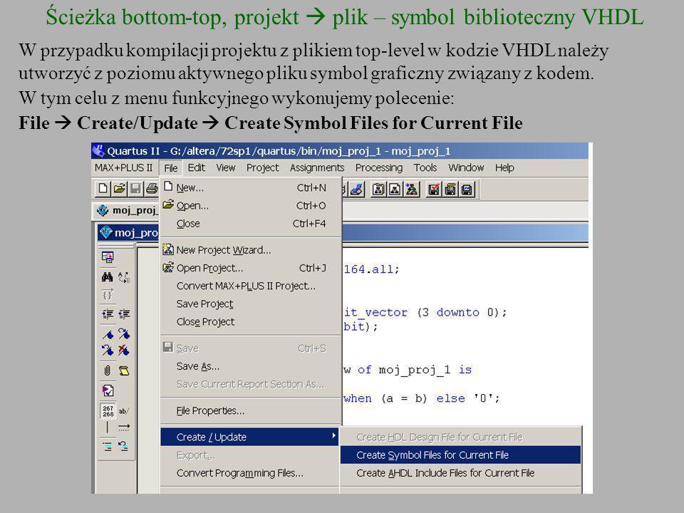Ścieżka bottom-top, projekt  plik – symbol biblioteczny VHDL