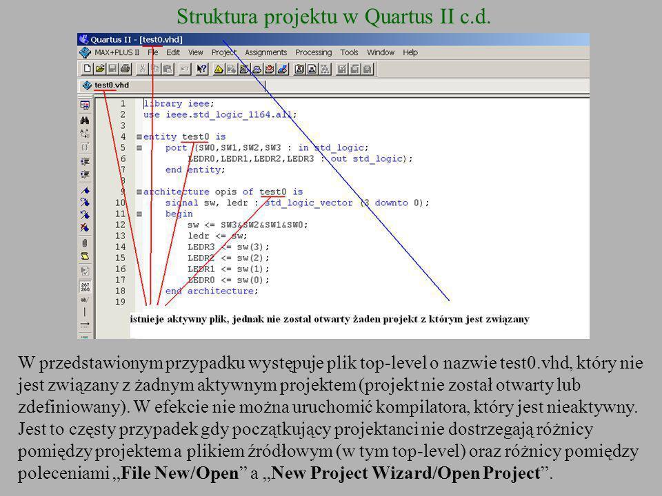 Struktura projektu w Quartus II c.d.