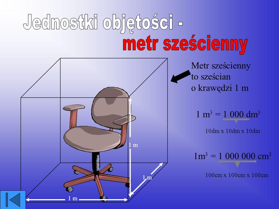 Jednostki objętości - metr sześcienny