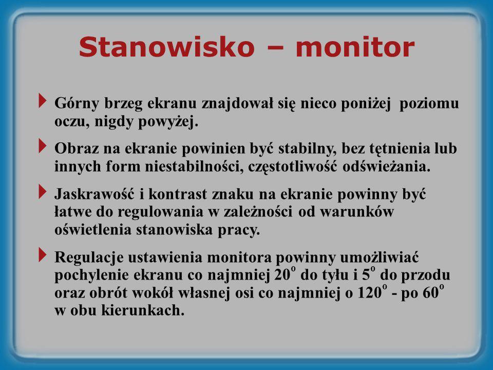 Stanowisko – monitor Górny brzeg ekranu znajdował się nieco poniżej poziomu oczu, nigdy powyżej.