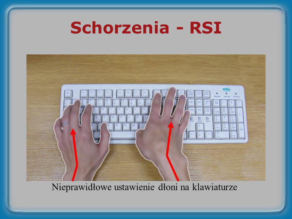 Schorzenia - RSI Nieprawidłowe ustawienie dłoni na klawiaturze