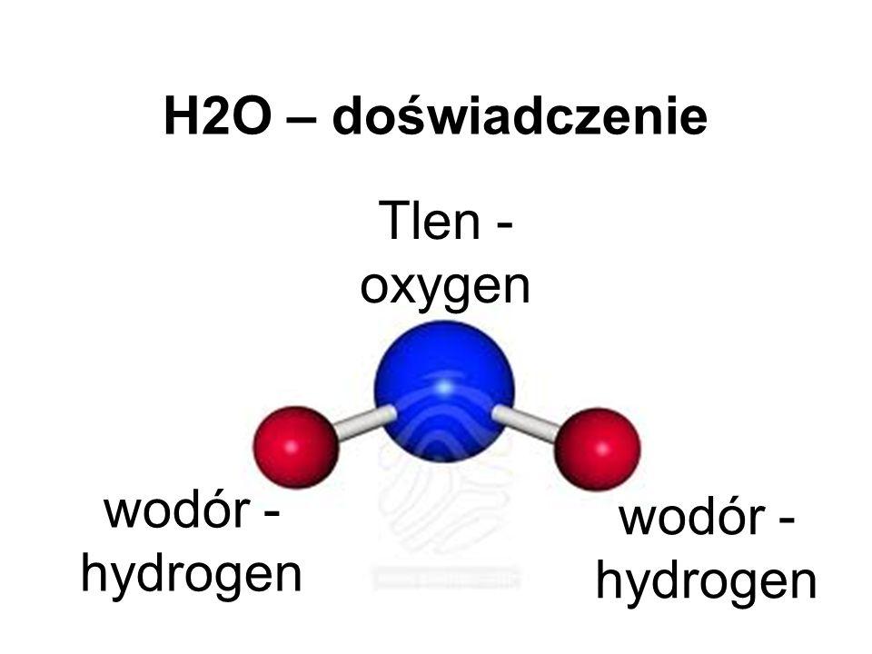 H2O – doświadczenie Tlen - oxygen wodór - hydrogen wodór - hydrogen