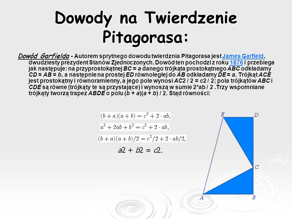 Dowody na Twierdzenie Pitagorasa: