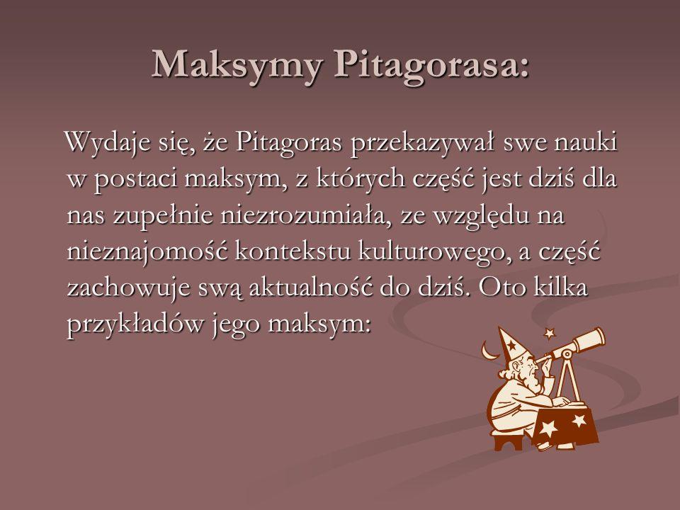 Maksymy Pitagorasa: