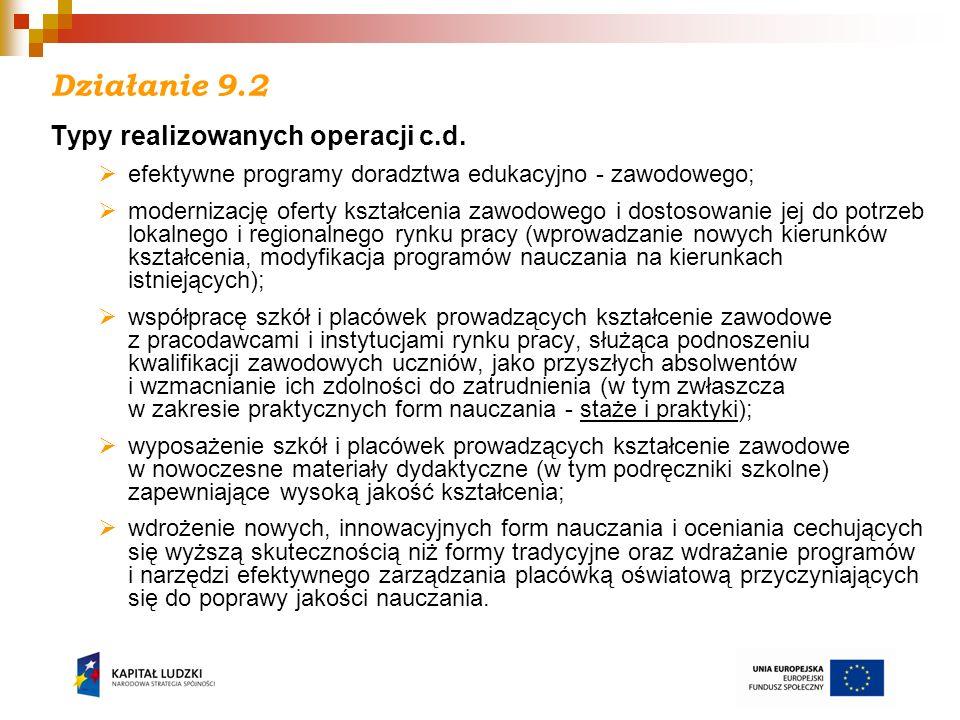 Działanie 9.2 Typy realizowanych operacji c.d.