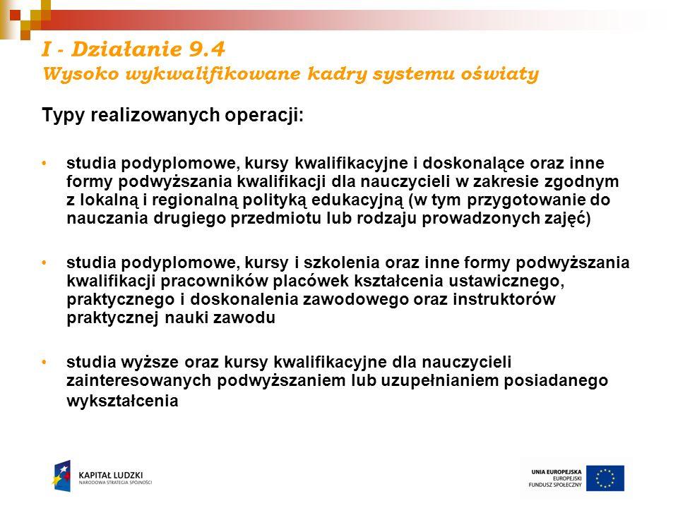 I - Działanie 9.4 Wysoko wykwalifikowane kadry systemu oświaty