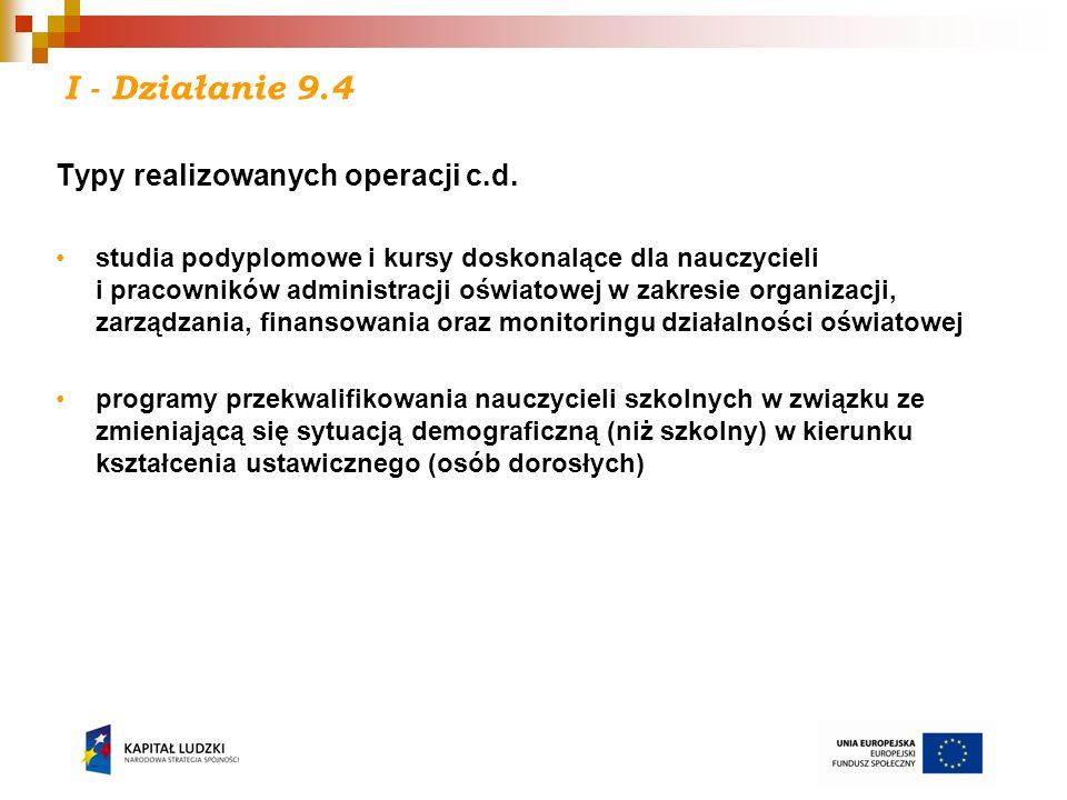 I - Działanie 9.4 Typy realizowanych operacji c.d.