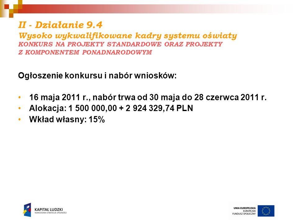 II - Działanie 9.4 Wysoko wykwalifikowane kadry systemu oświaty KONKURS NA PROJEKTY STANDARDOWE ORAZ PROJEKTY Z KOMPONENTEM PONADNARODOWYM