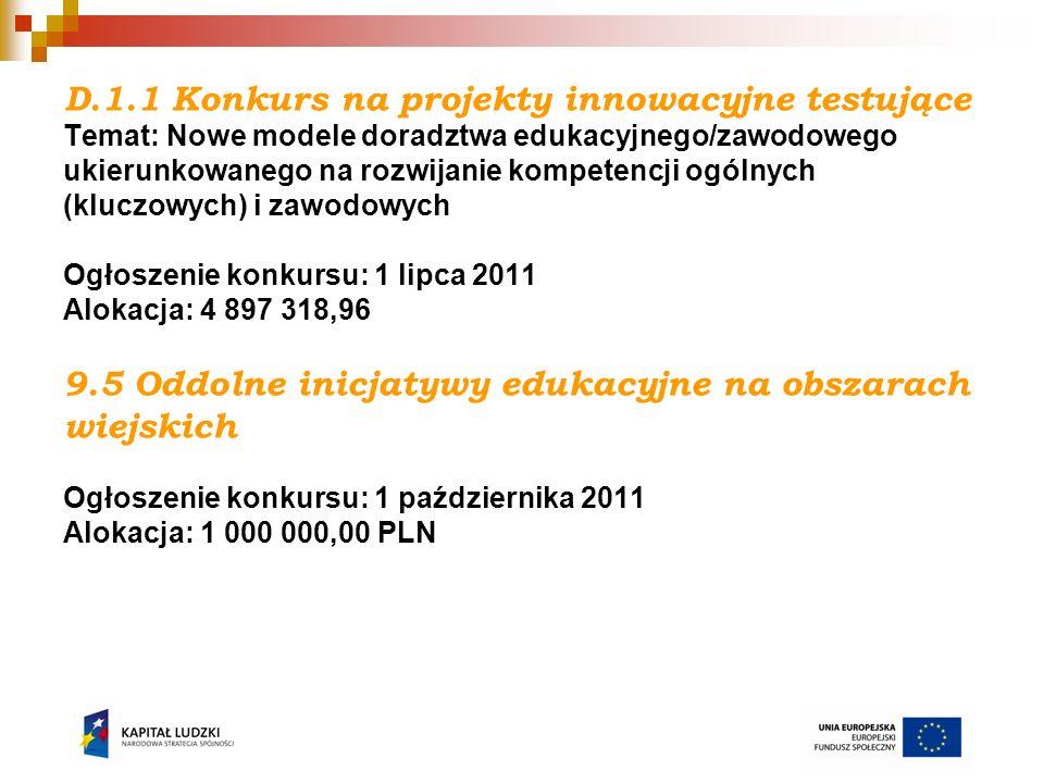 D.1.1 Konkurs na projekty innowacyjne testujące Temat: Nowe modele doradztwa edukacyjnego/zawodowego ukierunkowanego na rozwijanie kompetencji ogólnych (kluczowych) i zawodowych Ogłoszenie konkursu: 1 lipca 2011 Alokacja: 4 897 318,96 9.5 Oddolne inicjatywy edukacyjne na obszarach wiejskich Ogłoszenie konkursu: 1 października 2011 Alokacja: 1 000 000,00 PLN