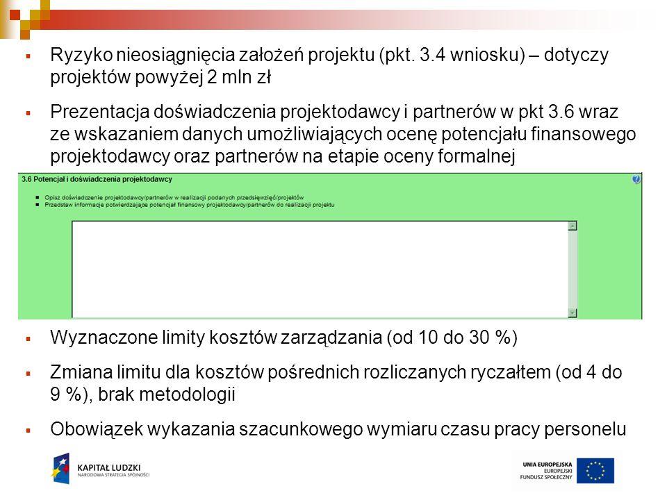 Ryzyko nieosiągnięcia założeń projektu (pkt. 3