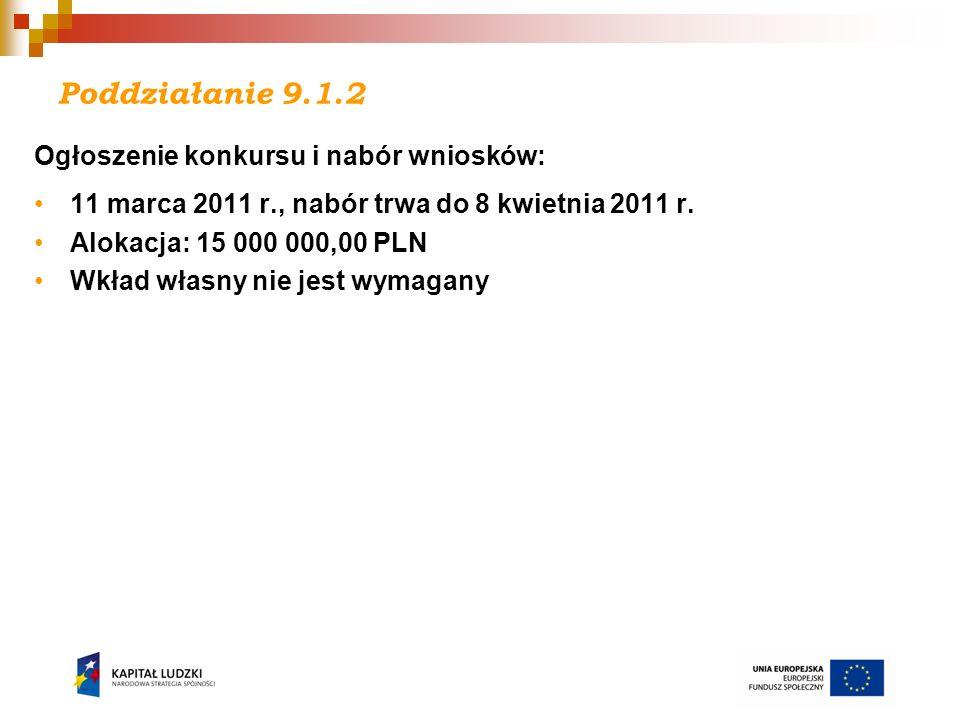 Poddziałanie 9.1.2 Ogłoszenie konkursu i nabór wniosków: