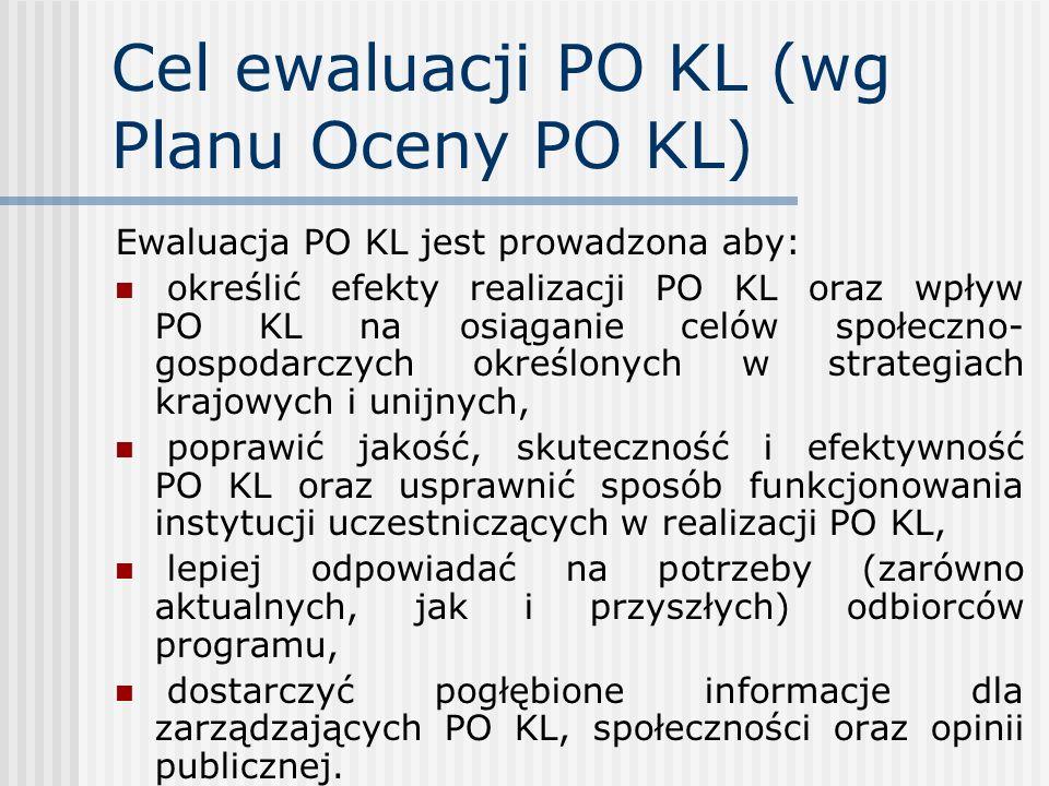 Cel ewaluacji PO KL (wg Planu Oceny PO KL)