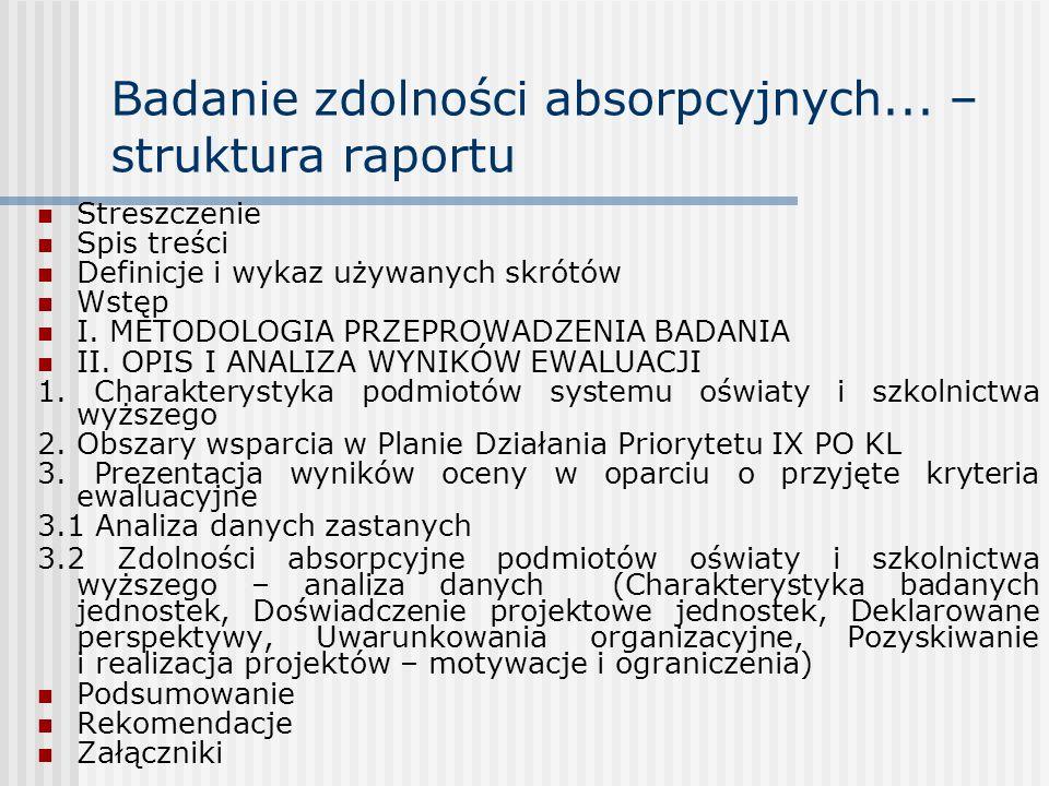 Badanie zdolności absorpcyjnych... – struktura raportu