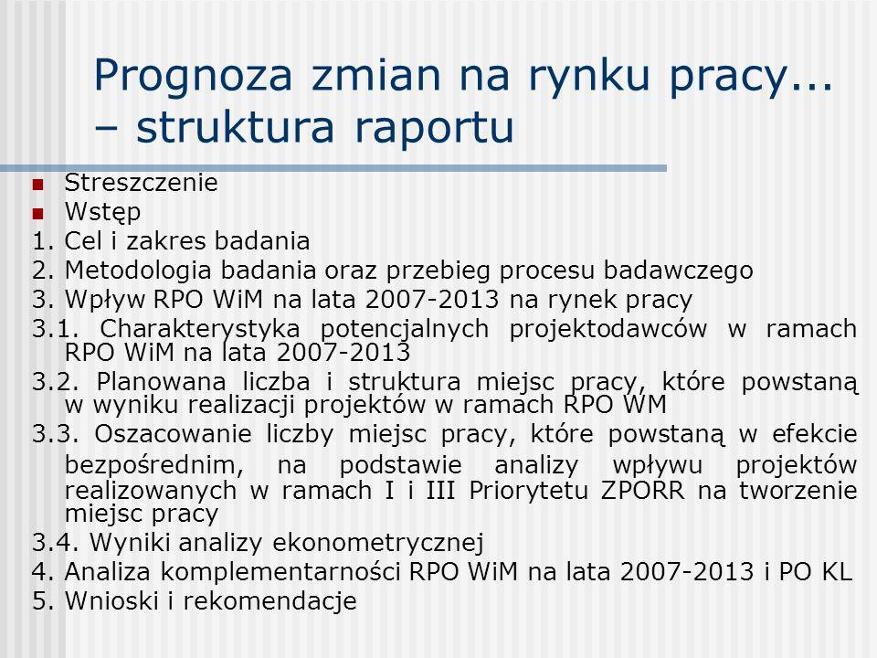 Prognoza zmian na rynku pracy... – struktura raportu
