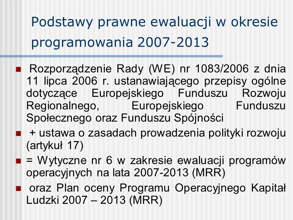 Podstawy prawne ewaluacji w okresie programowania 2007-2013