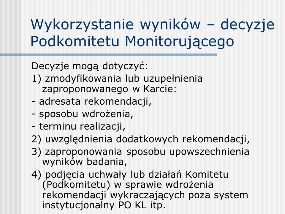 Wykorzystanie wyników – decyzje Podkomitetu Monitorującego