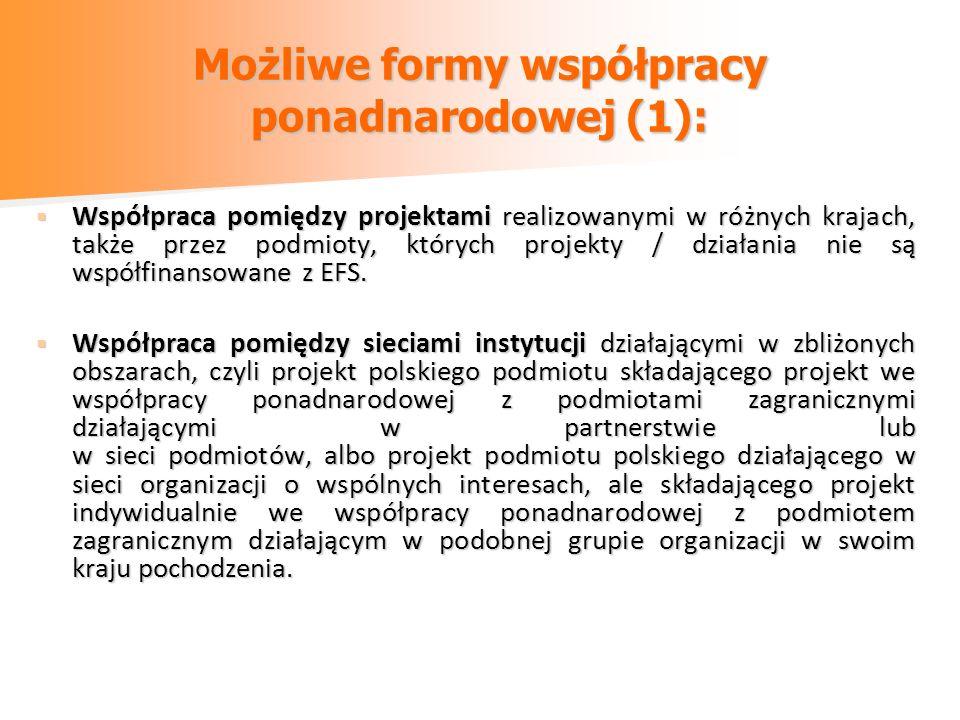 Możliwe formy współpracy ponadnarodowej (1):