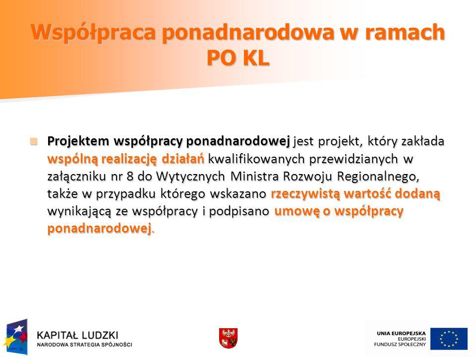 Współpraca ponadnarodowa w ramach PO KL